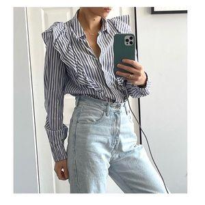 Bershka Striped Ruffle Shirt
